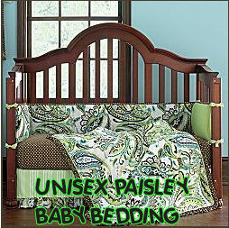 Baby Bedding  Girls on Brown And Green Unisex Paisley Baby Crib Nursery Bedding Set