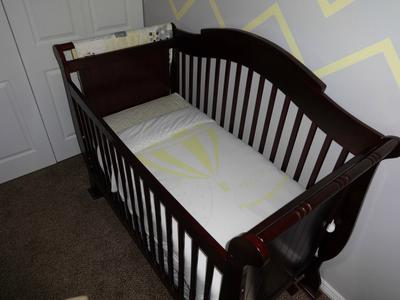 Collette's organic baby bedding set with chevron crib skirt