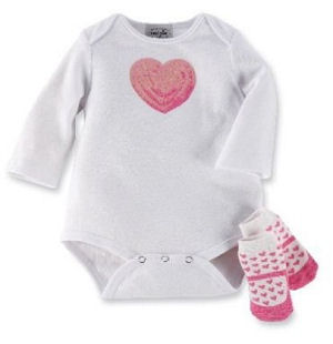 White baby girl Valentine's Day onesie set with pink sequins and matching crib socks