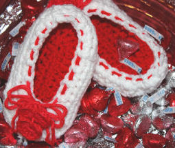 Crochet Valentine's Day Baby Ballet Shoes with Red Hearts