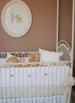 vintage tan and white damask baby nursery crib bedding set homemade