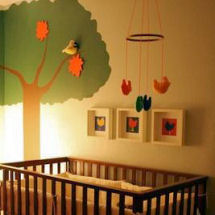 Vintage Woodstock baby nursery theme design with tree wall mural painting craft DIY project