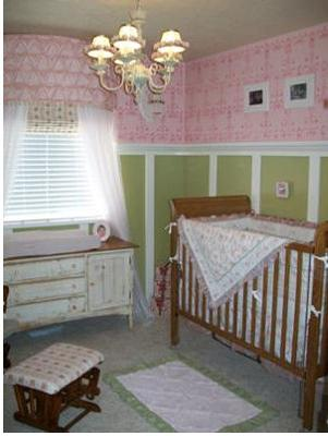 Pink, Green and White Vintage Baby Ballerina Nursery Decorating Ideas and Decor