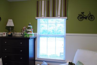 Vintage Baby Nursery Theme w Striped Window Valance and Bright Olive Green and White Wall Paint Color