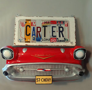 1957 Chevrolet car wall shelf decor decoration in a classic vintage car baby boy nursery theme.