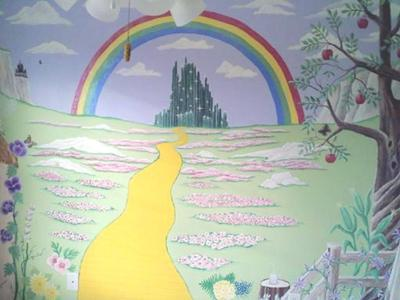 We're Off to see the Wizard!  Follow the Yellow Brick Road Wizard of Oz Baby Nursery Wall Mural