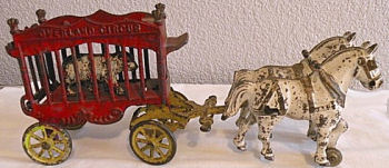 Child's vintage bear circus train toy