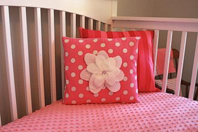 Pillows I made for my baby girl's watermelon pink and gray nursery.