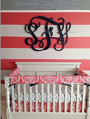 Watermelon Pink Black And Gray Baby Girl Nursery