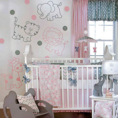 Pink and grey baby girl jungle nursery ideas with giraffes lions tigers and elephants