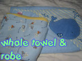 whale theme hooded baby bath towel robe