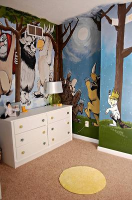 where the wild things are baby nursery wall mural. Black Bedroom Furniture Sets. Home Design Ideas