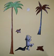where the wild things are wallies wall decals stickers mural appliques. Black Bedroom Furniture Sets. Home Design Ideas