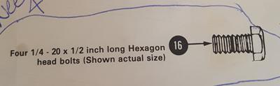 1/4 - 20 X 1/2 inch long hexagon head bolts for a Simmons Baby Crib