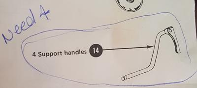 Simmons Baby Crib Support Handles Parts Diagram from Owner's Assembly Manual