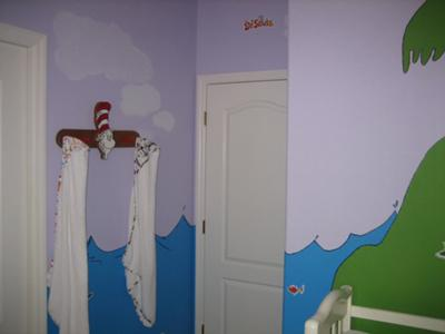 Baby Seuss Characeters Nursery Wall Decor and Painting Closeup