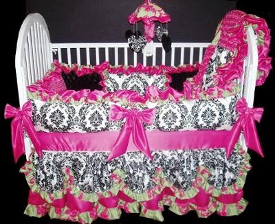 Elegant Black, White Damask Print and Hot Pink Custom Baby Bedding Set