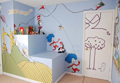 Dr Seuss Thing 1 Thing 2 wall mural painting