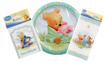Winnie the Pooh baby shower invitations plates and party supplies with baby Piglet