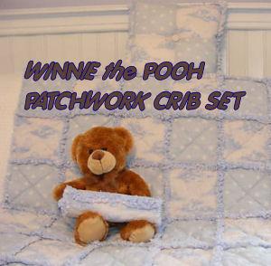 patchwork baby crib quilt set winnie the pooh