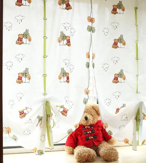 Winnie the pooh sheer curtains fabric window treatments nursery baby