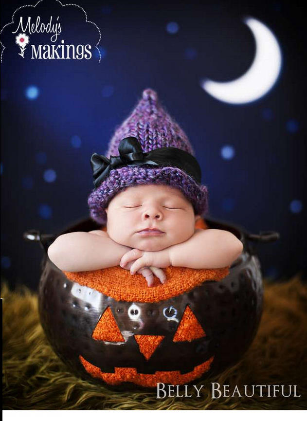 Infant baby girl witch hat knitting pattern for DIY Halloween costume