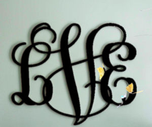 Round wood wall monogram for a baby boy nursery