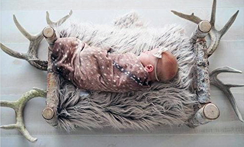 Newborn baby photography posing idea with deer antlers and a rustic handmade log crib photo prop.