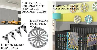 Baby boy retro 1950s vintage car theme nursery room with car themed crib bedding
