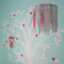 Baby girl aqua blue, white and pink owl nursery with wall tree mural