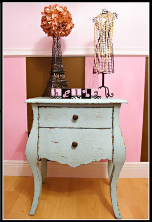 A unique shabby chic element with display in Annabella's exotic princess nursery theme.