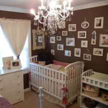 Shabby chic gender neutral unisex chocolate brown vintage nursery with antique white crib bedding