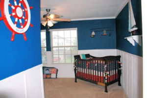 Baby boy red white and blue nautical sailing sailboat nursery room decor