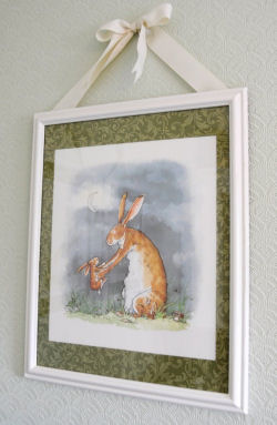 Custom framed nursery wall art prints made from pages taken from the book