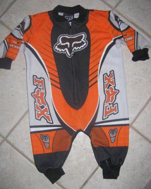Baby motorcycle or motocross Fox racing sleeper pajamas.