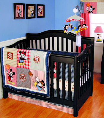 Baby Mickey Mouse Disney Sports Theme Nursery Crib Bedding Set with Soccer Balls, Baseball and Football Applique for a baby boy