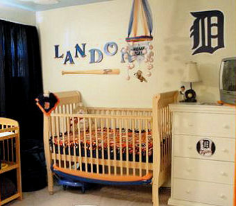 Detroit Tigers baseball baby sports theme nursery with baseball crib mobile and bedding set
