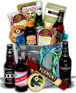 Beer theme gift basket perfect for new dads or any guy who appreciates a good cold brew.