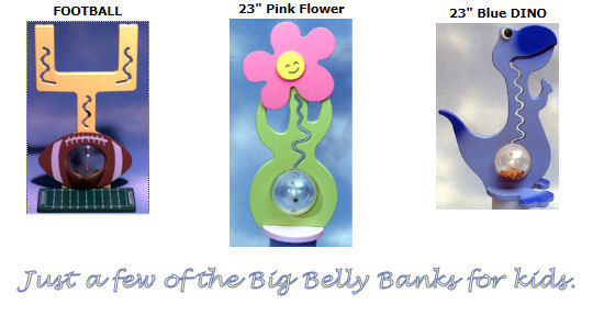 Personalized kitty cat bank for girls, football goal bank and blue dinosaur bank