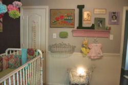 baby girl nursery bird theme decor decorations wall arrangement shelf shelves gallery wall