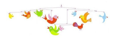 Colorful pink, green, yellow and blue baby bird crib mobile for a baby boy or girl birdy theme nursery.