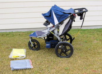 BOB Revolution Double (Twin Duallie) Navy Baby Jogger / Jogging Stroller