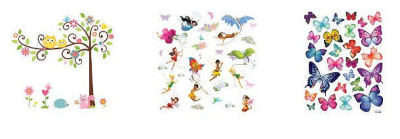 Butterfly wall decals for a baby girl nursery including glitter butterfly fairy stickers and an owl tree decal with forest creatures