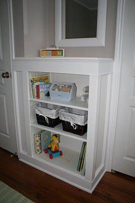 The nursery's built-in bookshelf that my husband and his father built.