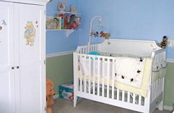 Classic Winnie The Pooh Baby Nursery With A Bumble Bee Crib Bedding And Decals That
