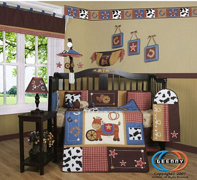 Baby boy western cowboy baby bedding set with 13 pieces in the collection including cow print crib bumper, applique patchwork crib quilt, wall decorations, toy bag and diaper stacker