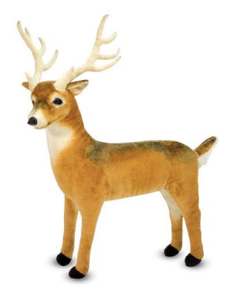 Lifelike plush stuffed whitetail deer toy for a baby's forest, or hunting theme woodland nursery