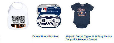 Baby Detroit Tigers baseball clothes, pacifiers, bibs and baby shower gifts ideas
