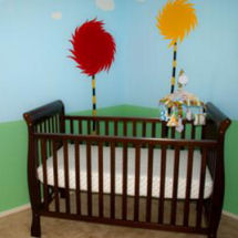 Baby Dr Seuss nursery with truffula trees wall decorations
