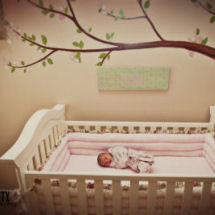 Pink and brown baby girl nursery with cherry tree wall mural with flowers on the branches